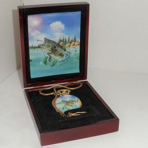 NEW - Fisherman Pocket Watch Gold Blue Face W/Fish